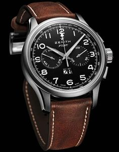 Zenith Pilot Big Date Special Watch.  This watch was inspired by the hand-wound Zenith chronograph model introduced in the early 1960s for the A. Cairelli company, famous as the traditional supplier of the Italian air force.