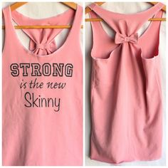 Pink Cotton Racerback Tank Strong is the new Skinny - Small