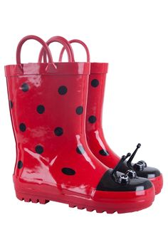 a3f0c40a6ce Mountain Warehouse Ladybird Junior Rubber Boots Red 7 Child US