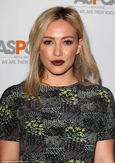 Love the eye make up.........Hilary Duff takes a risk while Katherine Heigl is mumsy at ASPCA event #dailymail