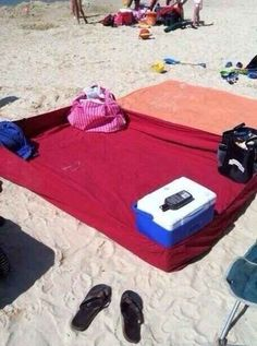 Use a fitted sheet on the beach to keep sand out. | 16 Beach Hacks That Will Save Your Summer