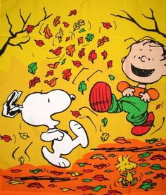 Snoopy and friends playing in fall leaves :)