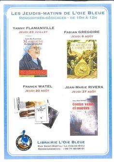 Rencontres-dédicaces les jeudis matins jusqu'au 27 août - Librairie L'Oie Bleue - La Chaise-Dieu