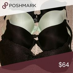 4pc Bra Bundle From front to back: Victoria's Secret padded demi, VS lightly lined demi, VS mint push up pigeonnant & Maidenform lightly lined. Victoria's Secret Intimates & Sleepwear Bras