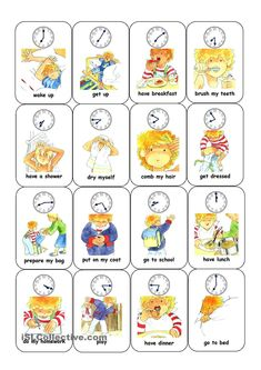 Time and daily routine card game daily routine kids, daily routine worksheet, daily routine English Games, English Activities, English Fun, Daily Activities, English Lessons, Learn English, Daily Routine Worksheet, Daily Routine Kids, Learning Italian