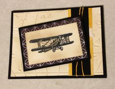 Airplane Card. Vintage plane card.  Handmade Stampin up.  Birthday, Fathers Day, Thank You, Thinking of You, Any Occasion card. by T1DCampCards on Etsy