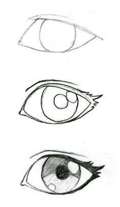 Art Drawings Sketches Simple, Pencil Art Drawings, Cute Drawings, Easy Sketches To Draw, Simple Face Drawing, Kawaii Drawings, Animal Drawings, Easy Drawing Tutorial, Eye Drawing Tutorials