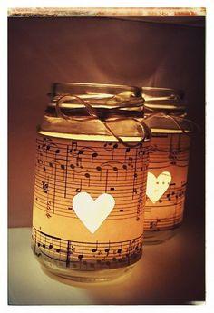 Notenblätter Teelicht Gläser - Candle Light Glass with Sheet Music Paper