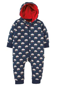 Keep your little one warm and cosy this chilly season in this fab Snuggle Suit! Made from super soft organic cotton brushback fleece in a fun and colourful Frugi all over print, this onesie has a touch of elastane in the cuffs for extra comfort and fit, a contrasting organic cotton interlock lined hood, a zip guard to protect your baby