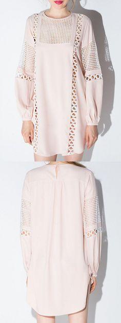 Pink Crochet Cut Out Long Sleeve Dress