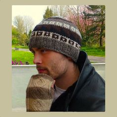 Mens Wool Fleece Lined. Fair Isle Knitting, Knitting Socks, Knitting Ideas, Hand Knitting, Knitted Hats, Knit Hat For Men, Hat For Man, Head Accessories, Knitting Accessories