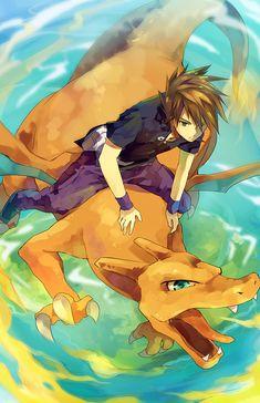 Pokemon - Gary Oak and Charizard Pokemon Go, Charizard Pokemon, Pikachu, Gijinka Pokemon, Green Pokemon, Pokemon Manga, Charmander, Pokemon Stuff, Manga Anime