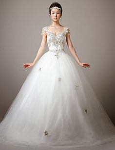 Princess Straps Sweep/Brush Train Wedding Dress (Lace/Tulle)