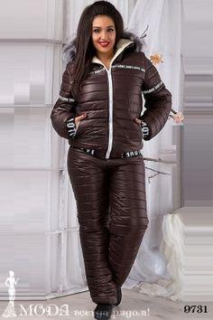 Лыжный костюм для полных 9731 Лыжные костюмы и комбинезоны оптом по низким ценам Winter Jackets, Leather Jacket, Sexy, Pants, Action, Winter Coats, Studded Leather Jacket, Trousers, Group Action