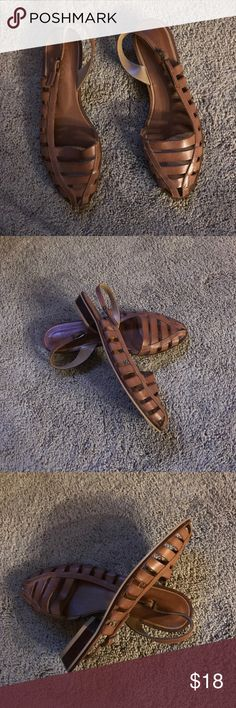 Tan leather sling back sandals Really cute tan leather sandals with Strappy design. Excellent used condition and very trendy. balloons Shoes Sandals