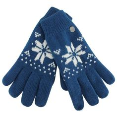 Blue & White Insulated WoWomen's Snowflake Knit Gloves ($16) ❤ liked on Polyvore featuring accessories, gloves, blue, lined gloves, thermal gloves, knit gloves and blue gloves