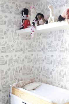 children bedroom, love the sketch wallpaper! via milkmagazine.net