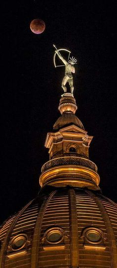 Blood Moon eclipse over the state capitol building in Topeka, Ks Photo by Jeff Jacobsen