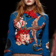 Runway Women Occident Embroider Floral Knitting Sequin Knitted Sweater Fashion X