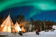 Yellowknife. Seriously doubt I'd be camping in a teepee in Alaska but I'd love to drive the Dalton!