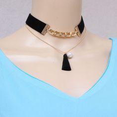 Vintage Goth Burlesque Black Velvet Tassel Charm Chunky Bid Choker Necklace #black #Tassel #Choker
