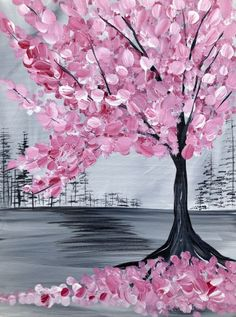 Check out Pink Cherry Blossom Tree at Heathen Brewing Feral Public House - Paint Nite Pink Cherry Blossom Tree, Cherry Blossom Painting, Acrylic Painting Flowers, Pink Painting, Blossom Trees, Canvas Painting Tutorials, Easy Canvas Painting, Diy Canvas Art, Pink Trees