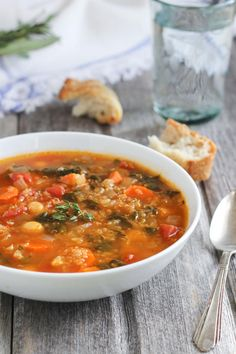 Quinoa Chickpea Spinach Soup has fresh herbs and vegetables. Warm and comforting.