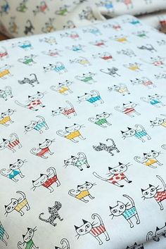 Japanese Fabric Cotton  Little Cats Pure White by cottonblue