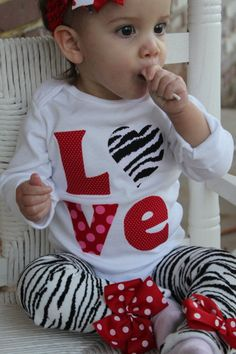 Baby Girl Valentines Day Outfit --  Little Diva Valentine -- zebra LOVE onesie and leg warmers. $ 34.00, via Etsy.