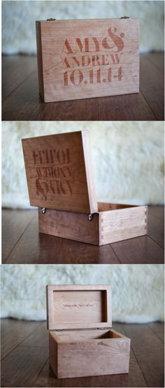 A personalized wooden memory box to store all of your most precious memories! This box is completely hand made in our Amish shop and can be customized with names, dates, or even a special message! Perfect for treasuring mementos from a wedding or just life!| Made on Hatch.co by people who care.