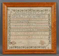 "Needlework Sampler, ""Mary Crumbie Aged 10 Years,"" reportedly c. 1825, Peekskill, New York, area, worked with silk threads on a linen ground, stitched with seven rows of alphabets and an assortment of decorative borders and baskets of flowers, surrounded by a strawberry vine, (fading, stains), 14 3/4 x 15 1/2 in., in a later bird's-eye maple frame."