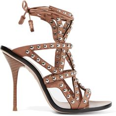 Sophia Webster Mila studded leather sandals (€500) ❤ liked on Polyvore featuring shoes, sandals, brown, tie sandals, brown high heel shoes, leather footwear, brown leather sandals and real leather shoes