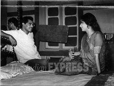 Film director Hrishikesh Mukherjee and Sadhana on the set of film Gaban.