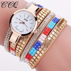Fashion CCQ Watch Women Leisurely Gift High Quality Leather Crystal Bracelet Free Shipping Diamond Quartz Wrist Watch Brand M6