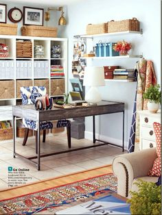 craft room / office in living room inspiration by Joyful Lova, via Flickr