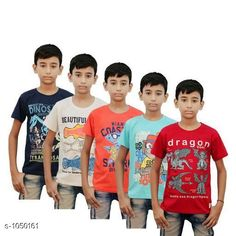 Tshirts Elegant Cotton Knitted Boy's T-shirt(Pack Of 5)  *Fabric* Cotton Knitted  *Sleeves* Half Sleeves Are Included  *Size* Age Group (2 - 3 Years) - 20 in Age Group (3 - 4 Years) - 22 in Age Group (5 - 6 Years) - 24 in Age Group (7 - 8 Years) - 26 in Age Group (9 - 10 Years) - 28 in Age Group (10 - 11 Years) - 30 in Age Group (11 - 12 Years) - 32 in Age Group (12 - 13 Years) - 34 in  *Type* Stitched  *Description* It Has 5 Piece Of Boy's T-shirts  *Work* Printed  *Sizes Available* 2-3 Years, 3-4 Years, 5-6 Years, 7-8 Years, 8-9 Years, 9-10 Years, 10-11 Years, 11-12 Years, 12-13 Years *    Catalog Name: Stylo Bug Amazing Cotton Knitted Boy's T-shirts Vol 4 CatalogID_127840 C59-SC1173 Code: 176-1050161-