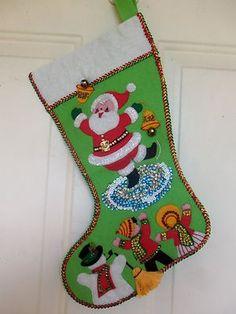VINTAGE BUCILLA? FELT  BEADED  SEQUIN SANTA  KIDS SNOWMAN CHRISTMAS STOCKING