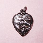 """Extraordinary Antique Sterling Repousse """"Niagara Falls"""" Puffy Heart Charm"""