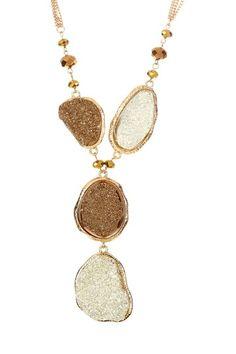 Big & Bold: Necklace Shop Druzy Two-Tone Drop Necklace $38.00 $128.00 70% off
