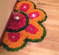 30 Dazzling Diwali Decorations DIY Ideas to Brighten-Up Your Home - Lifestyle Spunk Rangoli Designs Flower, Rangoli Border Designs, Colorful Rangoli Designs, Rangoli Ideas, Rangoli Designs Diwali, Diwali Rangoli, Rangoli Designs Images, Flower Rangoli, Beautiful Rangoli Designs
