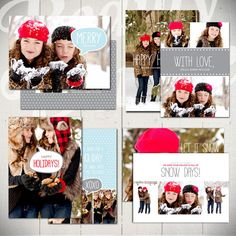 Christmas Card Templates Snow Day  Set of by BeautyDivineDesign