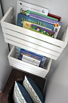Crate Book Storage for a Playroom — I Heart Organizing                                                                                                                                                     More