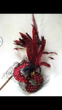 Maroon n black feather masque