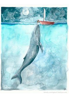 Heart of the Sea 5x7 watercolor print Whale ocean by IrishShells, $17.00