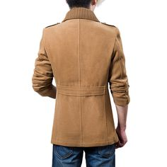 Fall Winter Mens Casual Jacket Turndown Collar Single Breasted Solid Color Trench Coat - Newchic