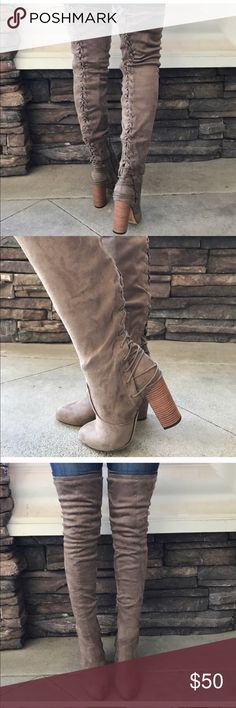 Taupe thigh high boots ***reposh*** Vegan taupe thigh high boots. Super cute. ***reposh*** only worn for a few hours. Shoes Over the Knee Boots