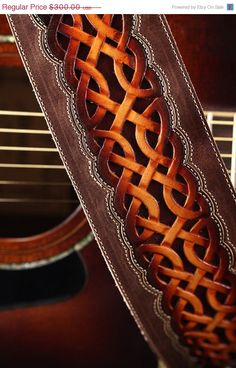 Celtic Guitar Strap brown leather by EthosCustomBrands