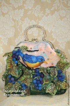 Blue Vine - cream, grapes, felted bag, birds, bird, autumn leaves
