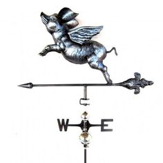 Primus Flying Pig Weathervane with Garden Stake Fallen Fruits, Flowery Branch, Eagle In Flight, Welsh Dragon, Weather Vanes, Vampire Bat, Man And Dog, Flying Pig, Wicked Witch