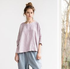 Loose linen KIMONO top with drop shoulder sleeves / Oversize